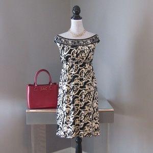 NEW Max Studio Black & Ivory Swirl Dress XS